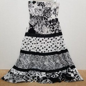 Speed Control dress PL floral strapless tiered